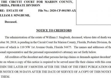 NOTICE TO CREDITORS, WILLIAM J. SINGBUSH, Deceased