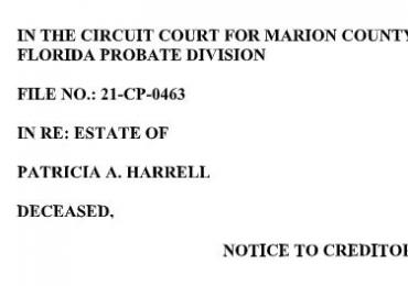 NOTICE TO CREDITORS: ESTATE OF PATRICIA A. HARRELL